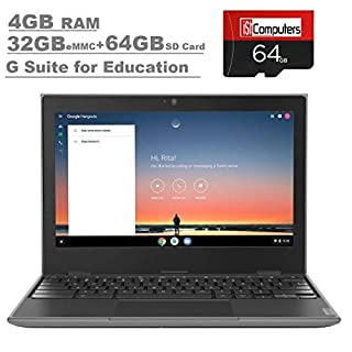 "2020 Lenovo 100e 2nd Gen 11.6"" Anti-Glare HD Business, Student Chromebook Laptop, Quad-Core MT8173C CPU, 4GB RAM, 32GB eMMC+64GB IST SD Card,Type C, WiFi AC, Webcam, Chrome OS"