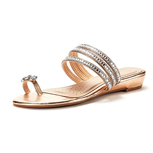 DREAM PAIRS Women's Jewel_05 Champagne Fashion Rhinestones Design Slides Sandals Size 9 M US
