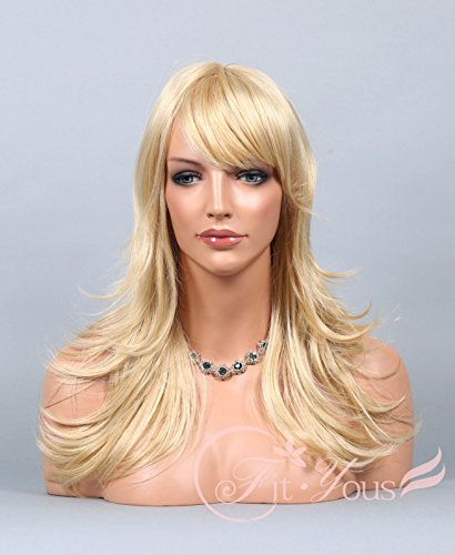 Soogo Fityous Golden / Light Blonde Mix Wig Long Layered Straight Bang Wig for Women HEAT OK (Halloween 90s Mix)