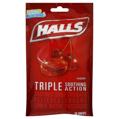 Halls Cough Suppressant Cherry Triple Action Cherry 40 Count (Pack of 2) ()