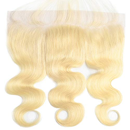 Wave 613 - Suttie 613 Platinum Blonde Body Wave Human hair Pre Plucked 13x4 Frontal Lace real Hair Frontal with Baby Hair 6JFL16