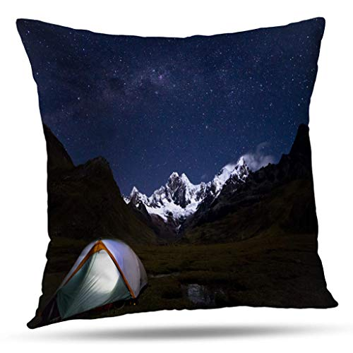 (Suesoso Native Decorative Pillows Case,Camping Milky Way Andes Night Clouds Sky Sleep Trek Adventure Throw Pillowcovers 18 x 18 inch,Cushion Decorative Home Decor Nice Gift)