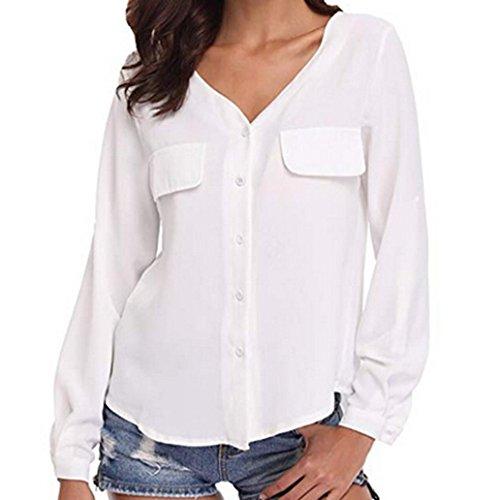 Damen V-Ausschnitt Knopf Langarm Tops DOLDOA Oberteile T-Shirt Bluse Weiß
