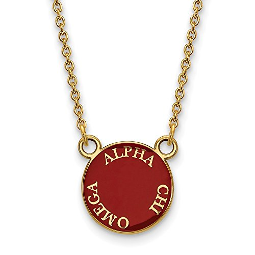 Solid 925 Sterling Silver with Gold-Toned Alpha Chi Omega Small Enl Pendant with Necklace (12mm)