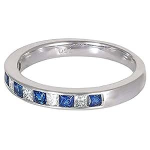 Eva Women's 18K White Gold 0.45ct Oval Sapphire Diamond Ring, Size 6.5 US - B14659