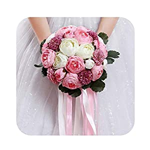 2019 Beautiful Pink White Wedding Flowers Bridal Bouquets with Ribbon Buque De Noiva Romantic Holding Flowers Handmade 21