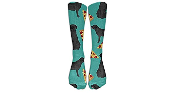Dog Black Lab Pizza Mens//Womens Sensitive Feet Wide Fit Crew Socks and Cotton Crew Athletic Sock