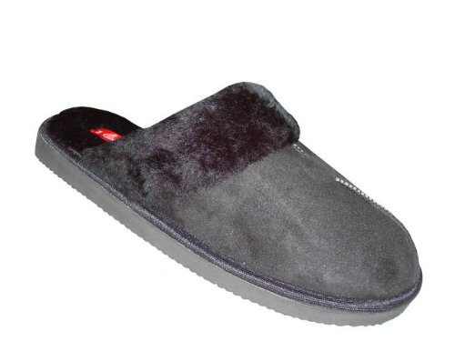 Easy Shoes Mens Velour Slippers Warm Slip On Shoes Fleece Lining Indoor/Outdoor 3 Colors Black 6288 F9oBsM3Ffa