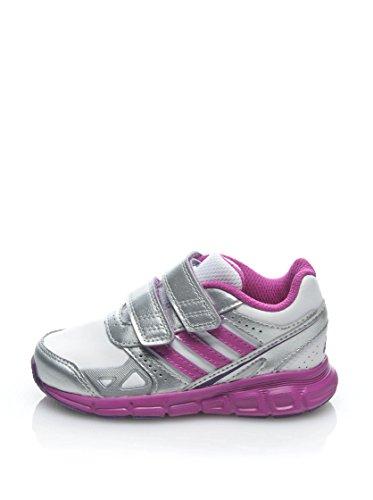 Adidas Kinderschuhe HyperFast CF I Unisex running white-vivid pink-metallic silver (D65739), 24, weiss