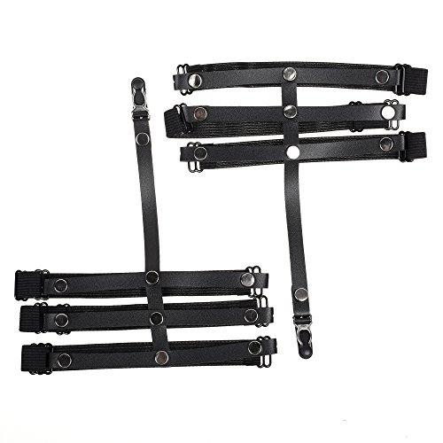 KLOUD City Sexy Leg Harness Garter Belts 3 Straps Elastic Punk Rivet Stud Leg Ring (Black) -