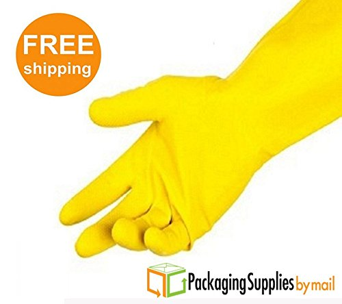 Anti-Slip Diamond Grip Pattern Yellow Flocklined Latex Household Gloves Size-Medium with Polymer Chlorinated 9 DZ by PackagingSuppliesByMail