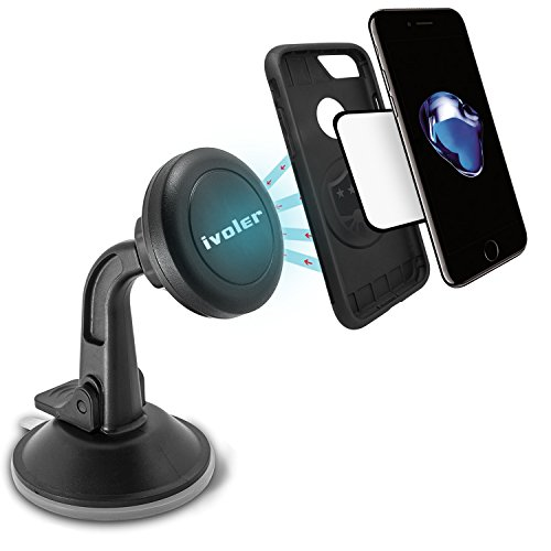 Magnetic Car Phone Mount Windshield Dashboard,Universal iVoler Phone Holder Strong Suction Cup 360 Degrees Rotation for iPhone 8 8 Plus X 7 7 Plus 6 6 Plus Galaxy S8 S7 S6 S5 edge Google huawei P10 P9
