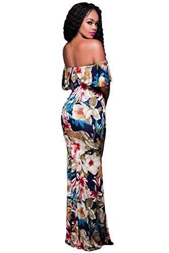 Imprimé floral Off épaule Maxi robe d'été Robe Jersey Party robe long UK 8–10Taille S EU 36–38