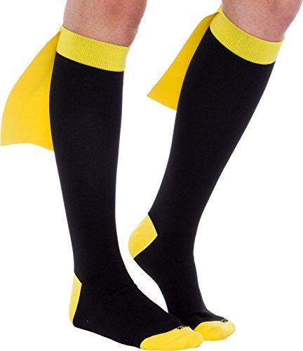LISH Superhero Compression Socks - Graduated 15-25 mmHg Knee-Hi Socks (Blk/Yel, -