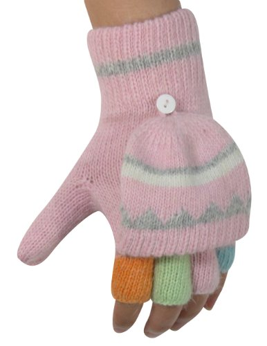 Dahlia Women's Colorful Pop-Top Wool Blend Knit Fingerless Mitten Gloves - Pink by Dahlia