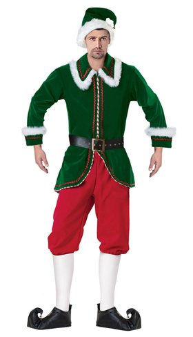 KILLREAL Mens Adult Christmas Velvet Santas Helper Elf Costume