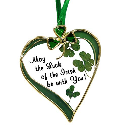 Irish Suncatcher - Glass Heart Sun Catcher with Shamrock Designs - May the Luck of the Irish Be with You - St. Patrick's Day Decoration