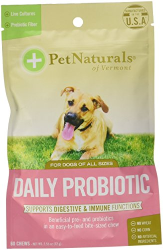 Pet Natural's of Vermont Daily Probiotic for Dogs, Digestive Health Supplement, 60 Bite Sized Soft Chews