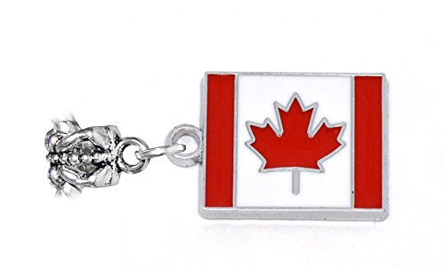 Canadian Flag Red Maple Leaf Canada Dangle Charm for European Bead Bracelets Crafting Key Chain Bracelet Necklace Jewelry Accessories Pendants (Spiral Red Peanut)
