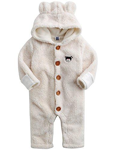 Vaenait Baby Infant Girls Fleece Hoodie Snowsuit Romper Bear One-Piece Ivory 18-24M
