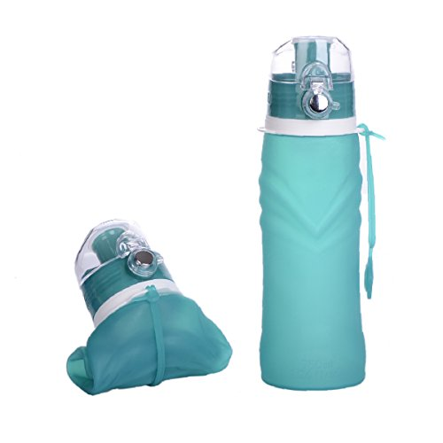 Collapsible Water Bottle-25 ounce Portable Silicone Leak Proof Water Bottle With One Touch Lock for Camping Biking Outdoor Activies(Green)