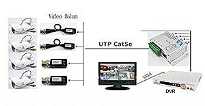 OdiySurveil(TM) UTP 4 Channel Passive HD Transceiver,BNC RJ45 UTP Converter for 720P 1080P CVI/TVI/AHD CCTV System (Color: Silver)