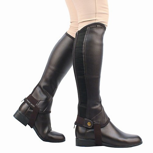 Saxon Girls Equileather Half Chaps Boots, Black, Child Medium