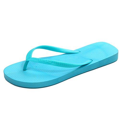 Baymate Damen Candy Farbe Zehentrenner Strand Ferien Flip Flops Sandalen Blau
