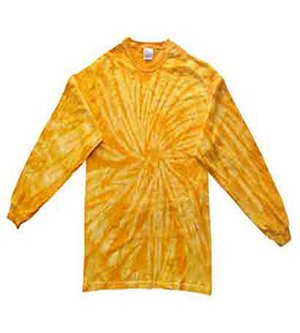 Tie Dyed T-shirt (Adult Tie-Dyed Long-Sleeve Cotton Tee (Gold Spider) (2X-Large))