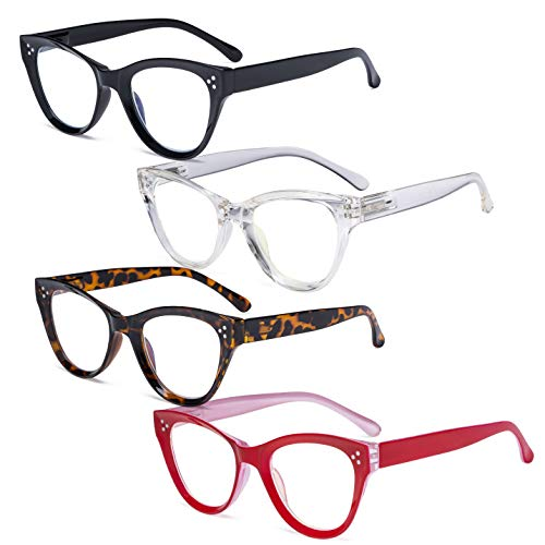 Eyekepper 4-pack Cateye Design Reading Glasses Oversized Readers for Women Reading +2.25