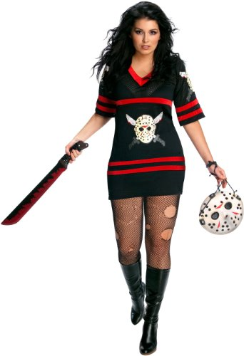 [Womens Plus-Size Secret Wishes Full Figure Friday The 13th Miss Voorhees Costume, Black, One Size] (Jason Vorhees Masks)