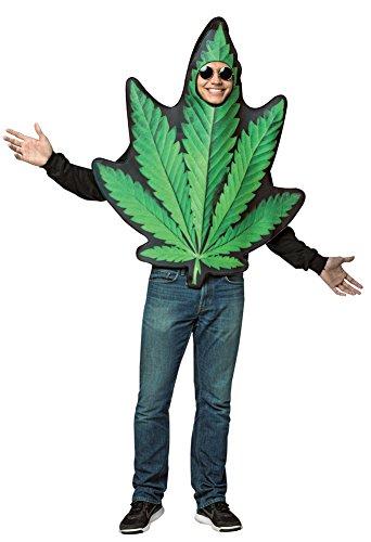 Costumes Halloween Leaf Pot (Mens Halloween Costume- Pot Leaf Get Real Adult)
