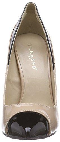 Pleaser SEXY-22 - zapatos de tacón cerrados de material sintético mujer beige - Beige (NUDE-BLACK)