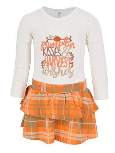 Unique Baby Girls Pumpkin Kisses Plaid Fall 2 Piece Skirt Set (6)