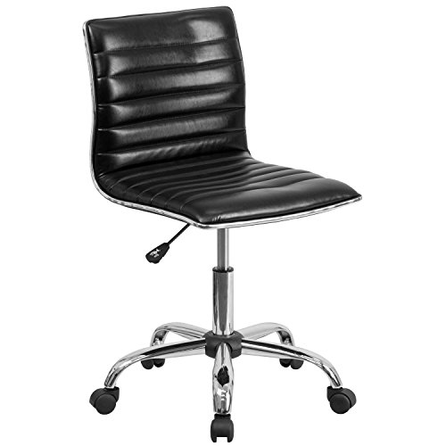 Flash Furniture Low Back Designer Armless Black Ribbed Swivel Task Chair ()