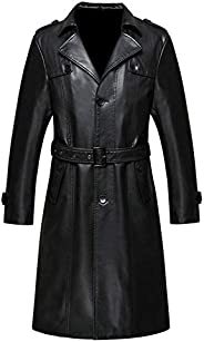 SNS TEXAS Mens Black Leather Long Trench Coat - Genuine Leather Jacket Coat for Mens (Regular Big & T