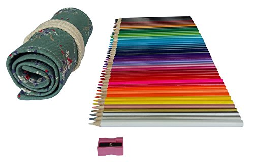 Colored Pencils Art Supplies for Kids Adults Coloring Book with Canvas Case Roll Up Wrap Bag and Sharpener Set...