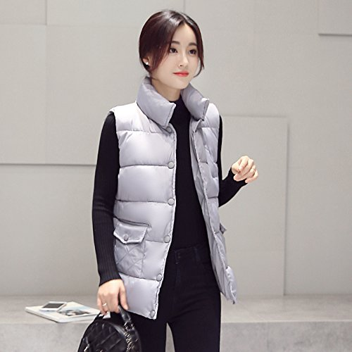 Women Clip Cotton And Of The Winter gray Clothing The Repair Itself Length Jacket Vest Warm Increase Down Thick Xuanku Silver Autumn Cotton Cotton q6FE6d