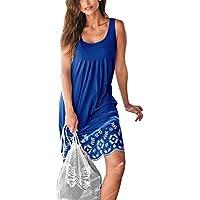 Eytino Women Summer Casual Spaghetti Strap Sundress Sleeveless Beach Dress