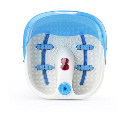 Fußmassagegerät Fußsprudelbad mit Infrarot Wärme und Massage Fussmassage inkl. 4 Rollen für die Fußreflexzonen Massage (mit Fußreflexzonen Blau)