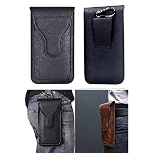HITFIT Leather Belt Clip Case with Double Mobile Pocket Cover, Magnetic Cover for Samsung Galaxy S21 Ultra 5G – Black (2…