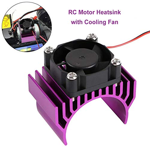 Innovateking Aluminum Heat Sink with 30mm 5V 0.1A Cooling Fan RC Motor Electric Heatsink for 1/8 1/10 RC Car 540 550 Size Motor (Purple)
