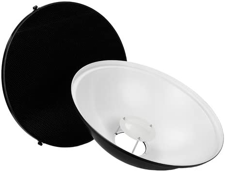 Fotodiox Pro Beauty Dish 22 with Honeycomb Grid and Speedring for Multiblitz Varilux Strobe Light
