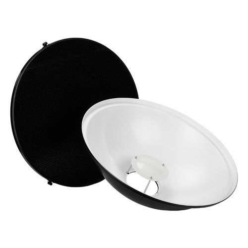 Fotodiox Pro Beauty Dish 22'' with Honeycomb Grid and Speedring for Comet CB25H Flash, CAX-32HS Strobe & More by Fotodiox