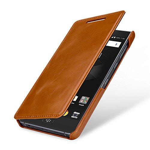 StilGut BlackBerry Motion Case, Book Type Leather Flip Case for BlackBerry Motion, Cognac (Flip Top Blackberry)