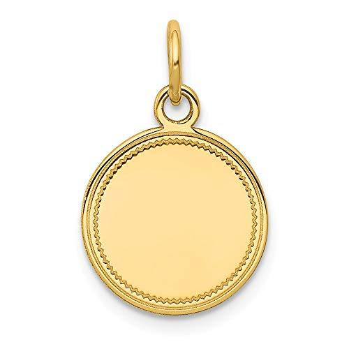 (14k Yellow Gold .018 Gauge Engravable Round Disc Pendant Charm Necklace Lasered Etched Fine Jewelry Gifts For Women For Her)