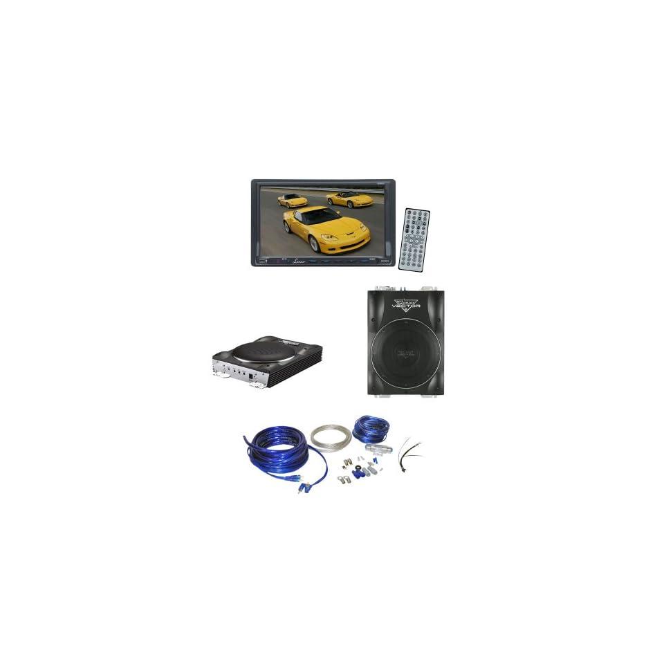 Lanzar Car, Van, Truck DVD Player and Amplified Subwoofer Package   SDN70U 7 Double Din TFT Touch Screen DVD/VCD/CD//MP4/CD R/USB/SD MMC Card Slot /AM/FM   VCTBS10 800 Watts Max 10 Super Slim Active Subwoofer   AMPKIT4 Contaq 1800 Watt 4 Gauge Power