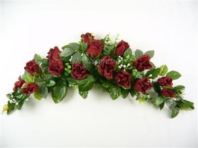 Artificial Silk Flowers Rose Bud Eucalyptus Gypso Swag Slim Table