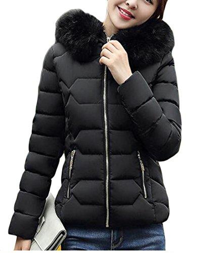today-UK Women Lightweight Down Jacket Faux Fur Collar Hooded Puffer Winter Coat Black