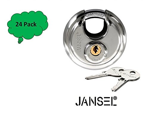 JANSEL – 70mm Disc Padlock Keyed Alike, Discus Padlocks Keyed Alike 70mm Round Disc Padlock with Shielded Shackle, 2-3/4-inch, Stainless Steel Round Disc Storage Pad Locks All the same key (24) by JANSEL